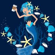 Mermaid coffee lady