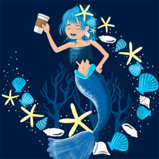 Mermaid coffee lady