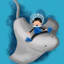 boy in underwater scene