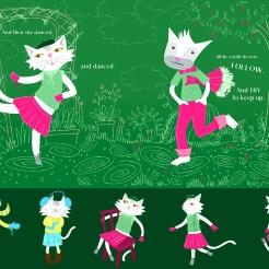 A girl cat dancing flat